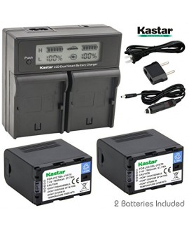 Kastar LCD Dual Smart Fast Charger & Battery (2 PACK) for JVC SSL-JVC70 and JVC GY-HMQ10, GY-LS300, GY-HM200, GY-HM600, GY-HM600E, GY-HM600EC, GY-HM650 Camcorders
