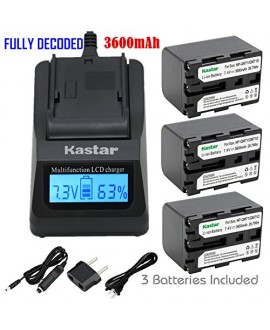 Kastar Ultra Fast Charger Kit and Battery (3-Pack) for Sony NP-QM71D NP-QM91D work with Sony CCD-TR108 TR208 TR408 TR748 TRV106 TRV107 TRV108 TRV116 TRV118 TRV126 TRV128 TRV138 TRV208 TRV218 TRV250 TRV255 TRV260 TRV265 TRV270 TRV280 TRV285 TRV300 TRV325 T