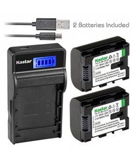 Kastar 2X Battery + SLIM LCD Charger for JVC BN-VG107 & Everio GZ-E GZ-EX GZ-HD GZ-HM3 Series and GZ-MG750 GZ-MS110BUS GZ-MS150 GZ-MS150HEU GZ-MS215 GZ-MS230 GZ-MS230US GZ-MS250BU GZ-G3 GZ-GX1 GZ-GX8
