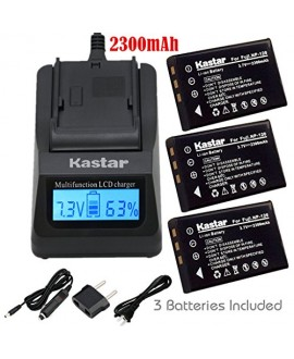 Kastar Ultra Fast Charger(3X faster) Kit and Battery (3-Pack) for Fujifilm NP-120, FNP120 work with Fujifilm FinePix 603, FinePix F10, FinePix F10 Zoom, FinePix F11, FinePix F11 Zoom, FinePix M603, FinePix M603 Zoom, KYOCERA Contax Tvs Digital, RICOH Capl