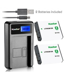 Kastar Battery (X2) & LCD USB Charger for Sony NP-FR1, BC-TR1, TRN and Sony Cyber-Shot DSC-F88, DSC-G1, DSC-P100, DSC-P100/LJ, DSC-P100/R, DSC-P120, DSCP150, DSC-P200, DSC-T30, DSC-T50, DSC-V3 Cameras