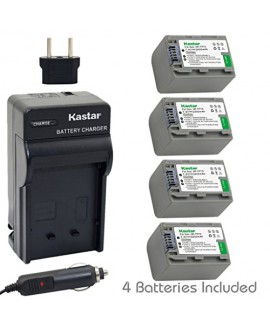 Kastar Battery (4-Pack) and Charger Kit for Sony NP-FP70, NP-FP71 work with Sony DCR-30, DVD92, DVD103, DVD105, DVD202, DVD203, DVD205, DVD304, DVD305, DVD403, DVD404, DVD405, DVD505, DVD602, DVD605, DVD653, DVD703, DVD705, DVD755, DVD803, DVD805, DVD905,