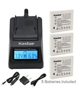 Kastar Ultra Fast Charger(3X faster) Kit and Battery (3-Pack) for Kodak KLIC-7005, Samsung SLB-0737, SLB-0837, Panasonic CGA-S004, CGA-S004A, CGA-S004E, CGR-S001B, DMW-BCB7, Fujifilm NP-40, NP-40N, Sanyo NP-40, UF55346, Pentax D-Li8, Benq Dli-102, Konica