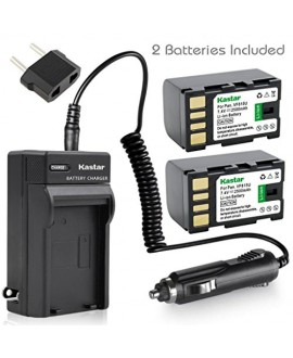 Kastar Battery (X2) & Travel Charger Kit for JVC BN-VF815 BNVF815 and Everio GC-PX10 GC-PX100 GS-TD1 GZ-HD300 GZ-HD320 GZ-HM1 GZ-HM200 GZ-HM400 GZ-MG630 GZ-MG650 GZ-MG670 GZ-MG680 GZ-MS120 GZ-MS130