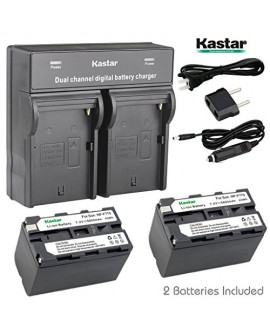 Kastar Dual Smart Fast Charger & 2 x Battery for Sony NP-F770 NP-F750 and CCD-RV100 CCD-RV200 CCD-SC9 CCD-TR1 CCD-TR940 CCD-TR917 Camera CN-126 CN-160 CN-216 CN-304 YN 300 VL600 LED Video Light