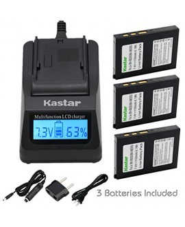 Kastar Ultra Fast Charger(3X faster) Kit and Battery (3-Pack) for BN-VM200 BN-VM200U work with JVC GZ-MC100 GZ-MC200 GZ-MC500 GZ-MC100EK GZ-MC200E GZ-MC500EK GZ-MC100EX GZ-MC200EX GZ-MC500EX GZ-MC100US GZ-MC200US GZ-MC500US Cameras [Over 3x faster than a