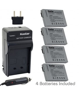 Kastar BP-208 Battery (4-Pack) and Charger Kit for Canon DC10/19 DC20 DC21 DC22 DC40 DC50 DC51 DC95 DC100 DC200/201/210/211 DC220/230 Elura 100 FVM300 IXY DVS1 MVX1Si/430/450/460 Optura S1 VIXIA HR10