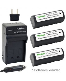 Kastar Battery (3-Pack) and Charger Kit for Fujifilm NP-80, KLIC-3000 work with Fujifilm Finepix 1700z, 2700, 2900z, 4800 Zoom, 4900 Zoom, 6800 Zoom, 6900 Zoom, MX-1700, MX-1700z, MX-2700, MX-2900, MX-2900z, MX-4800, MX-4900, MX-6800, MX-6900, Kodak DC480