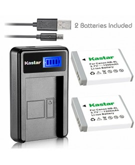 Kastar Battery (X2) & LCD Slim USB Charger for Canon NB-6L and PowerShot SX710 HS SX530 HS SX520 HS SX510 HS SX500 IS SX700SX280 SX260 SX170 SD1300 SD1200 SD980 SD770 SD1300D30 D20 D10 IXUS 85 95 200