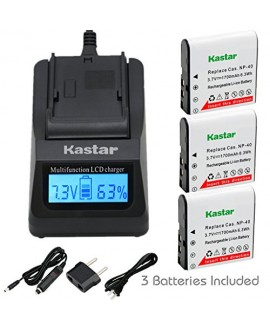 Kastar Ultra Fast Charger(3X faster) Kit and CNP-40 Battery (3-Pack) for Kodak LB-060 AZ521 AZ361 AZ501 AZ522 AZ362 AZ526 and HP D3500 SKL-60 V5060H V5061U Cameras