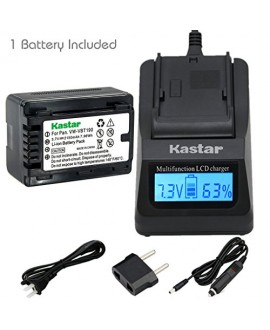 Kastar Fast Charger and Battery (1-Pack) for Panasonic VW-VBT190 and HC-V110 V130 V160 V180 HC-V201 V210 V250 HC-V380 HC-V510 V520 V550 HC-V710 V720 V750 V770 HC-VX870 HC-VX981 HC-W580 W850 HC-WXF991