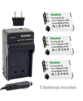 Kastar NP-48 Battery (3-Pack) and Charger Kit for Fujifilm NP-48, FNP48, BC-48 work with Fujifilm XQ1, XQ2 Digital Cameras