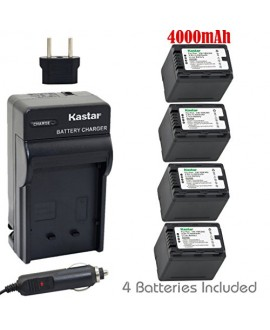 Kastar Battery (4-Pack) and Charger Kit for Panasonic VW-VBK360 work with Panasonic HC-V10, HC-V100, HC-V100M, HC-V500, HC-V500M, HC-V700, HC-V700M, HDC-HS60, HDC-HS80, HDC-SD40, HDC-SD60, HDC-SD80, HDC-SD90, HDC-SDX1H, HDC-TM40, HDC-TM41, HDC-TM55, HDC-T