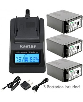 Kastar Ultra Fast Charger(3X faster) Kit and Battery (3-Pack) for Panasonic VW-VBG6 and Panasonic AG-AC7, AG-AC130A, AG-AC160A, AF100, HMC40, HMC70, HMC80, HMC150, HMC153, HMR10, HSC1U, HDC-DX1, DX3, HS9, HS20, HS100, HS200, HS250, HS300, HS350, HS700, MD