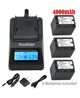 Kastar Ultra Fast Charger(3X faster) Kit and Battery (3-Pack) for Panasonic VW-VBK360 work with Panasonic HC-V10, HC-V100, HC-V100M, HC-V500, HC-V500M, HC-V700, HC-V700M, HDC-HS60, HDC-HS80, HDC-SD40, HDC-SD60, HDC-SD80, HDC-SD90, HDC-SDX1H, HDC-TM40, HDC