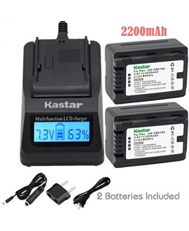 Kastar Ultra Fast Charger(3X faster) Kit and Battery (2-Pack) for Panasonic VW-VBK180 work with Panasonic HC-V10, HC-V100, HC-V100M, HC-V500, HC-V500M, HC-V700, HC-V700M, HDC-HS60, HDC-HS80, HDC-SD40, HDC-SD60, HDC-SD80, HDC-SD90, HDC-SDX1H, HDC-TM40, HDC