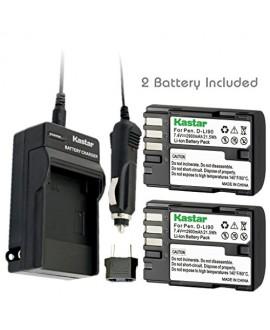 Kastar D-Li90 Battery (2-Pack) and Charger Kit work with Pentax K-01 K-3 K-5 K-5II K-5IIs K-7 645D 645Z Cameras