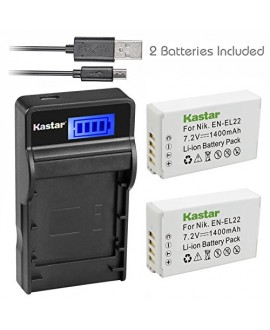 Kastar Battery (X2) & SLIM LCD Charger for Nikon EN-EL22, ENEL22, MH-29 work with Nikon 1 J4, Nikon 1 S2 Cameras