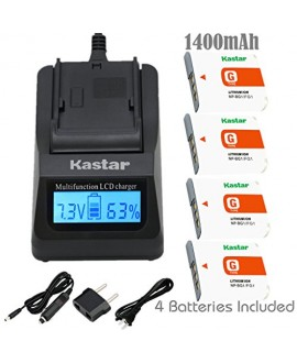 Kastar Fast Charger Kit and NP-BG1 Battery (4-Pack) for Sony NP-FG1 BC-CSG and Sony Cyber-shot DSC-H50 Cyber-shot DSC-H10 Cyber-shot DSC-W120 Cyber-shot DSC-W170 Cyber-shot DSC-W300 Digital Cameras