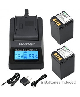 Kastar Ultra Fast Charger(3X faster) Kit and Battery (2-Pack) for JVC BN-VF733 and JVC GR-D245, GR-D246, GR-D247, GR-D250, GR-D253, GR-D270, GR-D271, GR-D275, GR-D290, GR-D293, GR-D295, GR-D370, GR-D371, GR-D375, GR-D390, GR-D393, GR-D395, GR-D396, GR-D45