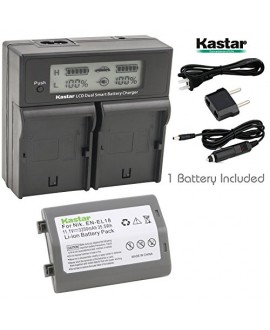 Kastar LCD Dual Smart Fast Charger & Battery (1 PACK) for Nikon EN-EL18, EN-EL18a, ENEL18, ENEL18a, MH-26, MH-26a, MH26 and Nikon D4, D4S, D5 Digital SLR Camera, Nikon MB-D12, D800, D800E Battery Grip