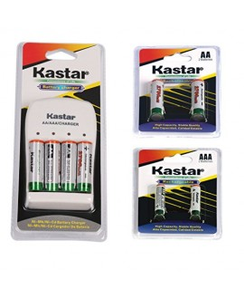 Kastar Rechargeable Ni-MH Battery AA 2700mAh 2PCS(1-PACK) + AAA 1000mAh 2PCS(1-PACK) and AA/AAA Charger Bundle Pack