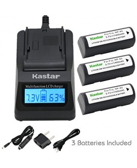 Kastar Ultra Fast Charger(3X faster) Kit and Battery (3-Pack) for Fujifilm NP-80, KLIC-3000 work with Fujifilm Finepix 1700z, 2700, 2900z, 4800 Zoom, 4900 Zoom, 6800 Zoom, 6900 Zoom, MX-1700, MX-1700z, MX-2700, MX-2900, MX-2900z, MX-4800, MX-4900, MX-6800