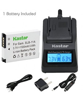 Kastar Fast Charger Kit and Battery (1-Pack) for Samsung SLB-11A and Samsung WB600 WB650 WB700 WB1000 WB2000 CL65 CL80 EX1 HZ25W HZ30W HZ35W HZ50W ST1000 ST5000 ST5500 TL240 TL320 TL350 TL500 Cameras