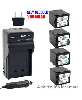 Kastar Battery (4-Pack) and Charger Kit for Panasonic VW-VBN260 work with Panasonic HC-X800 HC-X900 HC-X900M HC-X910 HC-X920 HC-X920M HDC-HS900 HDC-SD800 HDC-SD900 HDC-TM900 Cameras