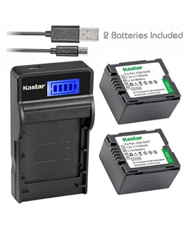 Kastar Battery (X2) & SLIM LCD Charger for Panasonic CGA-DU07 and NV-GS40 GS44 GS47 GS50 GS55 GS58 PV-GS150 GS200 GS300 GS320 GS400 GS500 SDR-H250 H280 VDR-D258 D300 D308 D310 D400 M74 M75 M95 M250