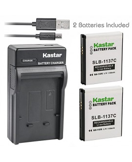 Kastar Battery (X2) & Slim USB Charger for Samsung SLB-1137C SLB1137C 1137C Battery and Samsung i7, Samsung Digimax i7 Cameras