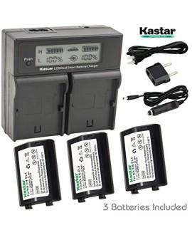 Kastar LCD Dual Smart Fast Charger & Battery (3 PACK) for Nikon EN-EL4, EN-EL4A, ENEL4, ENEL4A and Nikon D2Z, D2H, D2Hs, D2X, D2Xs, D3, D3S, D3X, F6 Camera, Nikon MB-D10, D300, D300S, D700, MB-40 Grip
