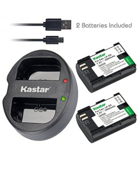 Kastar LPE6 Battery 2 Pack & Dual USB Charger for Canon LP-E6 and EOS 5DS, 5DS R, 5D Mark II, 5D Mark III 6D 7D 7D Mark II 60D 60Da 70D 80D XC10 BG-E16 BG-E14 BG-E13 BG-E11 BG-E9 BG-E7 BG-E6