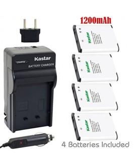Kastar EN-EL19 Battery (X4) + Charger for Nikon Coolpix S32, S100, S2600, S2700, S2800, S3100, S3300, S3400, S3500, S3600, S3700, S4100, S4300, S4400, S5200, S5300, S6600, S6700, S6800, S6900, S7000
