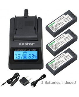 Kastar Ultra Fast Charger(3X faster) Kit and Battery (3-Pack) for Sony NP-FC11, NP-FC10 work with Sony Cyber-shot DSC-P12, DSC-P10, DSC-P8, DSC-V1, DSC-P7, DSC-P5, DSC-P9, DSC-P3, DSC-F77, DSC-P10S, DSC-FX77, DSC-P2, DSC-P10L, DSC-P8L, DSC-F77A, DSC-P8S,