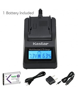 Kastar Ultra Fast Charger(3X faster) Kit and Battery (1-Pack) for NP-BY1, EN-EL11, LI-60B, DLI-78, DB-L70, DB-80, BC-CSY, LI-60C, MH-64 work with Sony Action Cam Mini HDR-AZ1, Nikon Coolpix S550, S560, Olympus FE-370, Pentax Optio L50, M50, M60, S1, V20,