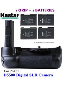 Kastar Pro Multi-Power Vertical Battery Grip + 4x EN-EL14 EN-EL4a Replacement Batteries for Nikon D5500 Digital SLR Camera
