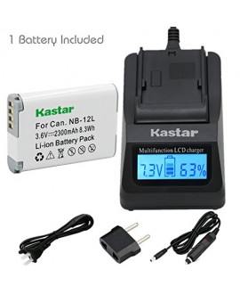 [Fully Decoded] Kastar NB-12L Battery (1-Pack) and Ultra Fast Charger Kit for Canon NB-12L work for Canon PowerShot G1 X Mark II, Canon PowerShot N100, Canon VIXIA mini X (LEGRIA mini X) Cameras