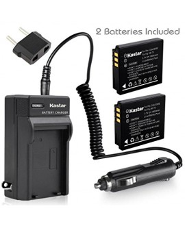 Kastar Battery (X2) & Travel Charger Kit for Panasonic Lumix CGA-S005 S005E DMW-BCC12 and Lumix DMC-FS1 FS2 DMC-FX01 FX07 DMC-FX1 FX3 FX8 FX9 FX10 FX12 FX50 FX100 FX150 FX180 DMC-LX1 LX2 LX3
