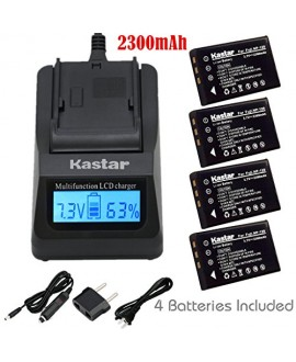 Kastar Ultra Fast Charger(3X faster) Kit and Battery (4-Pack) for Fujifilm NP-120, FNP120 work with Fujifilm FinePix 603, FinePix F10, FinePix F10 Zoom, FinePix F11, FinePix F11 Zoom, FinePix M603, FinePix M603 Zoom, KYOCERA Contax Tvs Digital, RICOH Capl