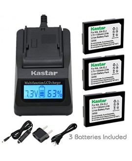 Kastar Ultra Fast Charger(3X faster) Kit and Battery (3-Pack) for Nikon EN-EL2 work with Nikon Coolpix 2500, Nikon Coolpix 3500, Nikon Coolpix SQ500 Digital Cameras [Over 3x faster than a normal charger with portable USB charge function]