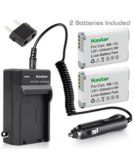 Kastar Battery (X2) & Travel Charger Kit for Canon NB-12L, NB12L, CB-2LG and Canon PowerShot G1 X Mark II, Canon PowerShot N100, Canon VIXIA mini X, LEGRIA mini X Digital Camera
