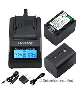 Kastar Ultra Fast Charger Kit and Battery (2-Pack) for Sony NP-FV70 CB-TRV & Sony FDR-AX53, HDR-CX675, HDR-CX455, HDR-CX900, TD30V, HDR-PV710V, HDR-PJ670, HDR-PJ810, HDR-TD30V, FDR-AX33, FDR-AX100