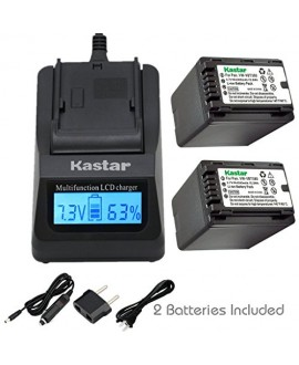 Kastar Fast Charger and Battery (2-Pack) for Panasonic VW-VBT380 and HC-V110 V130 V160 V180 HC-V201 V210 V250 HC-V380 HC-V510 V520 V550 HC-V710 V720 V750 V770 HC-VX870 HC-VX981 HC-W580 W850 HC-WXF991