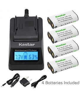 Kastar Ultra Fast Charger(3X faster) Kit and Battery (4-Pack) for CR-V3 work with Canon PowerShot A60,70,75,300,Nikon Coolpix 600,700,800,950,990,2100,2200,3100,3200,Olympus C3000,D565,D-100,D-150,D-230,D-370,D-380,D-390,D-460,D-490,D-560Z,Pentax Digibino