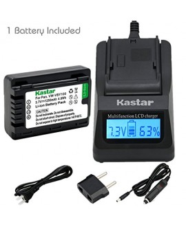 Kastar Ultra Fast Charger(3X faster) Kit and VW-VBY100 Battery (1-Pack) for Panasonic VW-VBY100 and Panasonic HC-V110 V110K V110G V201 V201K Cameras [with portable USB charge function]