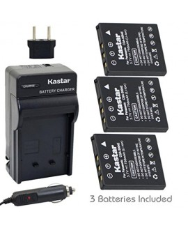 Kastar Battery 3-Pack and Charger Kit for Panasonic CGA-S004 Fujifilm NP-40 Kodak KLIC-7005 Samsung SLB-0737 SLB-0837 Sanyo NP-40 Pentax D-Li8 Benq Dli-102 Konica Minolta NP-1 and DE-992 BC-40 SBC-L5