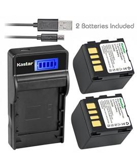 Kastar Battery X2 & SLIM LCD Charger for JVC BN-VF707 VF707U VF707UE VF707US BN-VF714 VF714L VF714U VF714UE VF714US BN-VF733 VF733U VF733UE VF733US JVC GR-D239 GR-D240 GR-D245 GR-D247 GR-D250 GR-D270