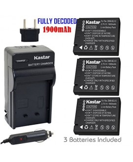 Kastar Battery (3-Pack) and Charger Kit for Panasonic DMW-BCJ13, DMW-BCJ13E, DMW-BCJ13PP, Leica BP-DC10, BP-DC10-E, BP-DC10-U work with Panasonic Lumix DMC-LX5 DMC-LX55 DMC-LX5K DMC-LX5W DMC-LX7 and Leica D-Lux 5, D-Lux 6 Cameras