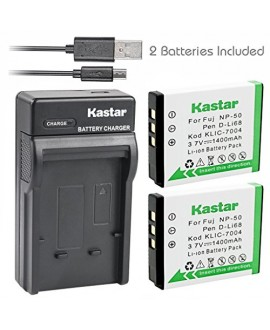 Kastar Battery (X2) & Slim USB Charger for Fujifilm NP-50 BC-50 BC-45W and Fuji FinePix F200EXR F75EXR F70EXR F100fd F60fd F50fd XF1 XP100 XP150 XP170 X20 F605EXR F660EXR F775EXR F900EXR Cameras